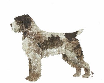 Wirehaired Pointing Griffon handmade original cut paper collage dog art full tail available