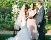 Waltz length veil, single layer veil, wedding bridal veil, Ivory, White, Diamond white