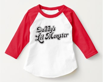 "Suicide Squad ""Daddy's Lil Monster"" Tshirt Harley Quinn Cosplay Shirt Suicide Squad Tshirt UNISEX CHILD 3/4 Sleeve Raglan (SCREENPRINTED)"