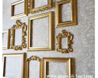 Gold PICTURE FRAME SET - wall gallery - collection of 10 - Vintage Style - photo frame - shabby chic - home wedding - Glass and B