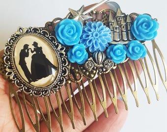 Cinderella Prince Charming Disney Silhouette Fairytale Cameo Handmade Bridal Hair Comb Wedding Hair Disney Wedding Gift for Her