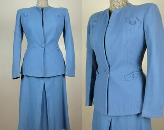 Vintage 1940s Blue Wool Suit 40s French Blue Skirt Suit by Goodman and Suss Fashions Size S/M