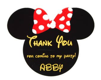 Set of 12 Pink or Red Personalized Minnie Mouse Thank You Party Favor Tags, Birthday Party, Polka Dot Bow Minnie Mouse Ears, Party Decor
