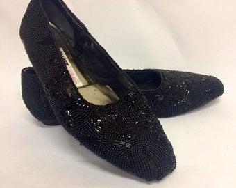 Vintage Black Beaded Beverly Feldman Frankie and Baby Slip On Shoes Size 8
