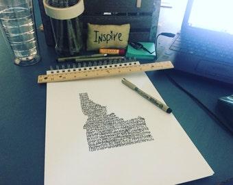 Typography Print. Handwritten. Art. State Art. Idaho Art. Idaho cities and towns. 8.5 X 11. Idaho map.