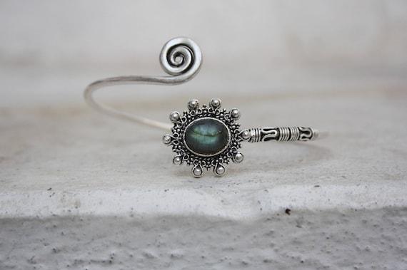 LABRADORITE MIDI CUFF -Silver Bracelet- Healing Crystal Jewellery- Bangle - Statement bracelet- Vintage jewellery- Stocking Filler- Gift