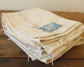 Rustic Heavy Weight Unmarked Hand-Mended Feed Sacks Vintage Feedsacks Fabric Extra Heavy Rustic Textile Projects