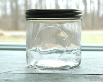 Vintage Glass Container Cigar Jar with Tin Lid Tobacciana General Store Display Storage Organization