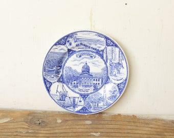 Vintage State Souvenir Plate Vermont State Plate Blue Transferware U.S.A.