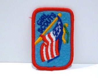 American Flag Patch Your Choice Vintage US flag embroidered patch Girl Scouts red white and blue Flag Ceremony Wavy Waving Stars and Stripes