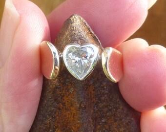 Custom Made Bezel set HEART diamond  .93 carats  VS2  H  ENGAGMENT Ring yellow and white gold