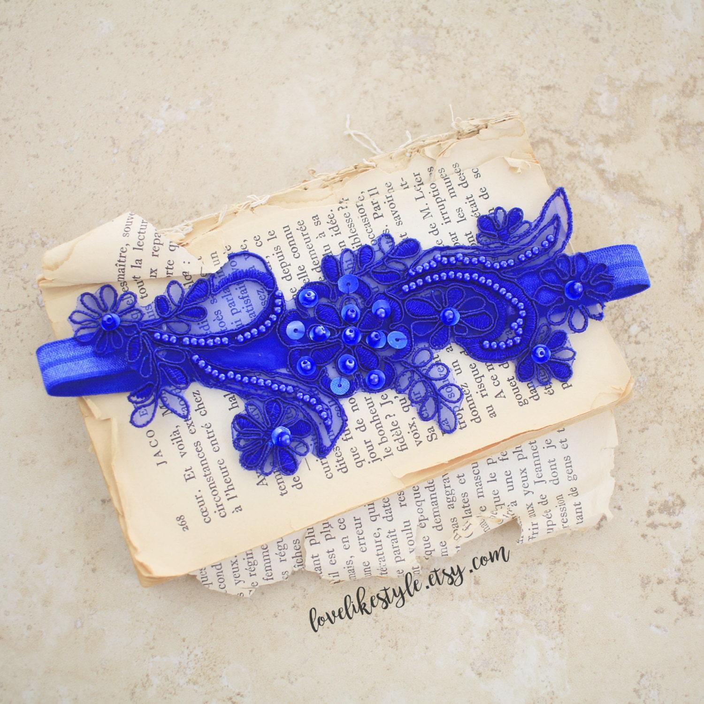 Wedding Garter Royal Blue Beaded Lace Wedding Garter Blue
