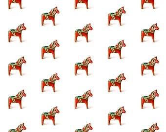 Dala Horse, Folk Art Scandinavian Horse Printed Cotton Fabric, CHOOSE COLOR | Ships from USA, Free Ship Worldwide