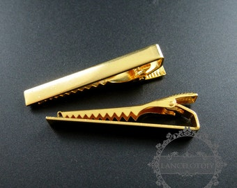 5pcs 6x50mm gold plated brass tie clip DIY tie bar jewelry accessory findings supplies 1540021