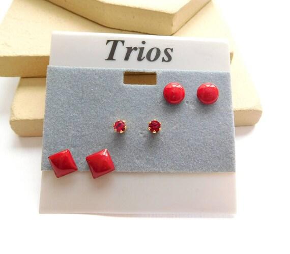Retro Vintage Set Of 3 Cherry Red Enamel Rhinestone Stud Multiples Earrings L27