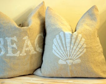 Natural Linen Beach House Pillow with Feather Insert