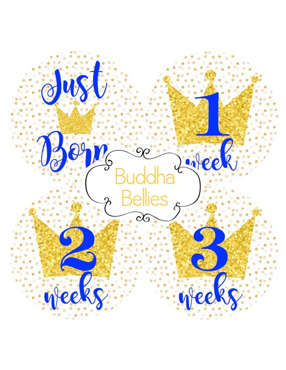 Little Prince Baby Month Stickers Royal Blue Baby Royals