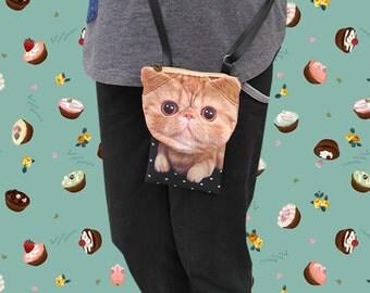 Cat, cross body phone case, cat bag, cat smartphone pouch, iPhone 4s pouch, iPhone 5 or 6 pouch, Note 3 pouch, cat purse, PH 1179