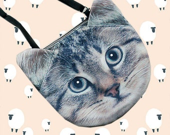 Tabby cat cross body bag, cat shoulder bag, cat purse, novelty, pouch, cat bag, cat lovers, cat portrait, SB-229