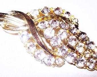 """Rhinestone Flower Leaf Brooch Pin Gold Metal Fashion 2.5"""" Vintage"""