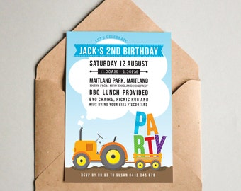 BY316 DIGITAL Birthday Party Invitation - PARTY TRACTOR heavy machinery - kids farm trailer printable invite boy first 1st 2nd 3rd 4th 5th