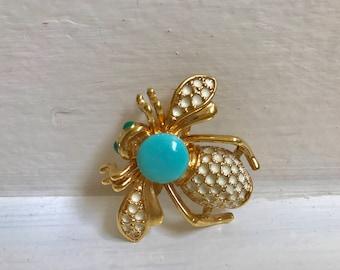 Vintage Enamel Faux Sleeping Beauty Turquoise Wasp Brooch Slide