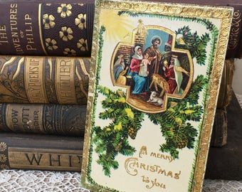 Sweet Edwardian Era Christmas Postcard With Nativity Scene