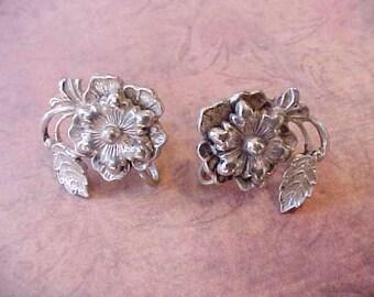 Beautiful Vintage Sterling Silver Earrings-Flowers with Swirling Leaves