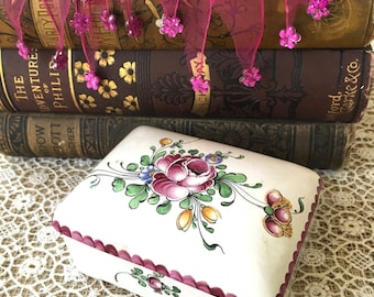 Beautiful French Country Look Vintage Tiffany and Co. Hand Painted Ceramic Trinket Box