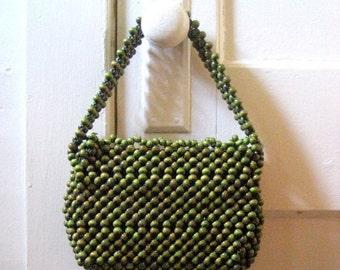 SALE Vintage purse / 60s Vintage RETRO beaded purse / green wood beads handbag