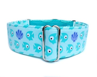 Aqua Fishies Dog Collar - Turquoise Baby Fish 1 inch or 1.5 inch Martingale Collar or Buckle Dog Collar - Summer Dog Collars