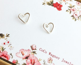 Heart Studs - Tiny Sterling Silver Heart Studs - Post Earrings - Handmade By Coco Wagner - All Sterling Silver - Everyday Jewelry