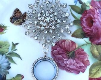 Rhinestone Starburst Brooch Memory Locket, Vintage Wedding Bouquet Photo Charm, Bridal Bouquet Photo Locket, MoniquesBijouxStudio