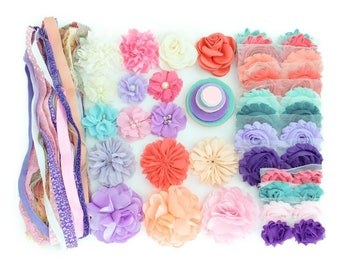 DIY Small Headband Kit - This-N-That 4 - 20-30 DIY Flowers, Headbands, and Clips - Headband Bar - Baby Shower Activity - Diy Kit