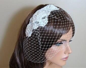 Bridal Wedding Birdcage Veil with Lace