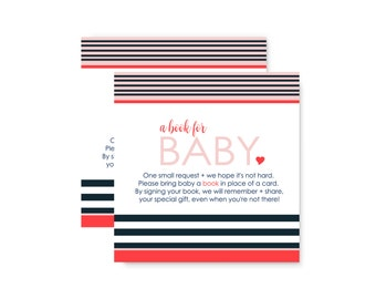 Chic Stripe Bring a Book for Baby Shower Invitation Insert Card - Navy & Blush  -  Striped -- Printed Card Set of 25 -- Boy or Girls