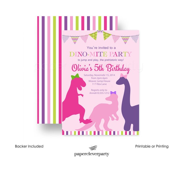 Charmed Girls Dinosaur Birthday Party Invitations Pink and Purple – Clever Party Invitations
