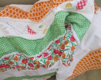 Homemade Quilt, Patchwork Lap Rag Quilt , FREE SHIPPING, Rag Quilt Throw, Country Quilt
