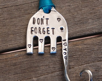 DON'T FORGET I love You ELEPHANT ornament with Teal Ribbon made from a repurposed Fork with tiny hearts