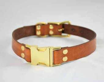 The Elessar QR Collar: Timber Brown & Brass Quick Release Leather Dog Collar