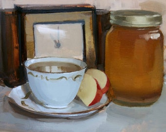 Tea and Honey (no.147) Oil Painting Realism Apples Fruit Still Life Clock Jar Antique Fall Autumn