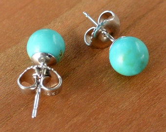 Natural Kingman Turquoise Stud Earrings, 6 mm Kingman Turquoise ball bead on Sterling Silver or Gold-fill, Kingman Turquoise from Arizona
