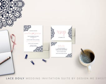 Lace Doily Navy Blush Wedding Invitation Suite by Design Me Sweet