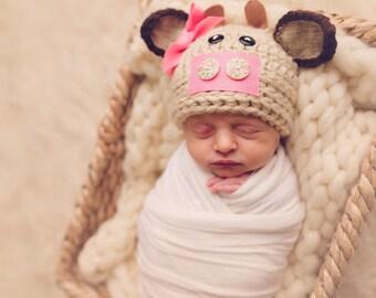 cow hat, baby cow hat, newborn cow hat, newborn baby hat, baby hat, newborn photo prop, crochet cow hat