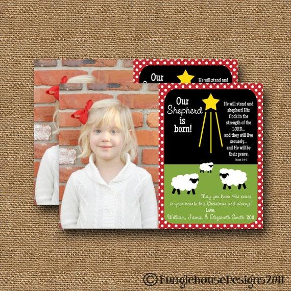 "Christmas Photo Card DIY PRINTABLE ""Shepherd"" Christian Scripture Christmas Bible Verse Christmas Card"