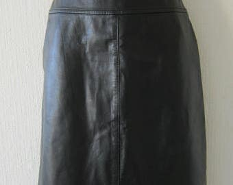 High Waist Soft Black Leather Skirt