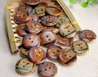 "30 PC Painted wood buttons 30mm/25mm - Wooden Buttons ,tree buttons, natural wood buttons ""owl """