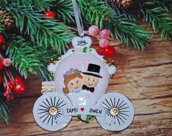 Personalized Just Married Cinderella Carriage Christmas Ornament