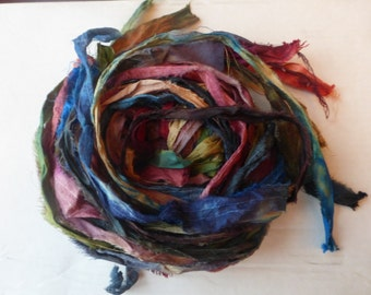 27 hand dyed silk ribbons approx 1m each mix of texture/colour - FR21