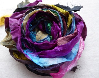 15 hand dyed silk ribbons approx 1m each mix of texture/colour - FR79